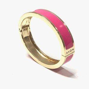 Avon Pink Enamel Gold Hinged Bangle Bracelet